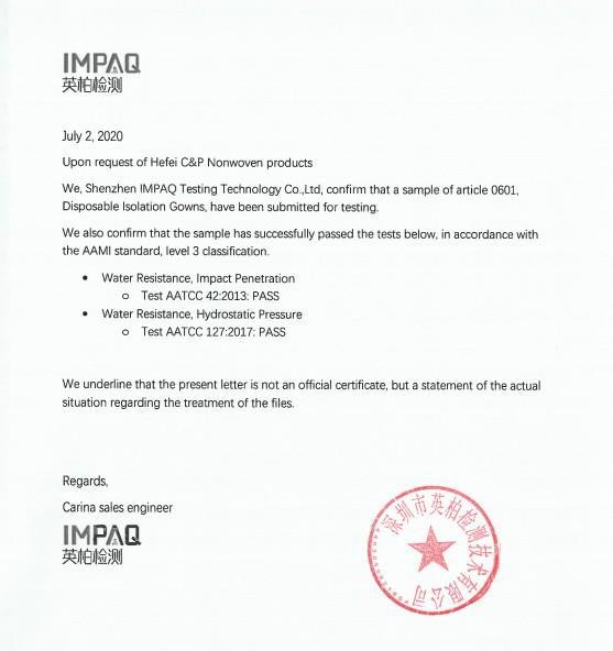 Isolation Gown 45Gsm IMPAQ Certificate